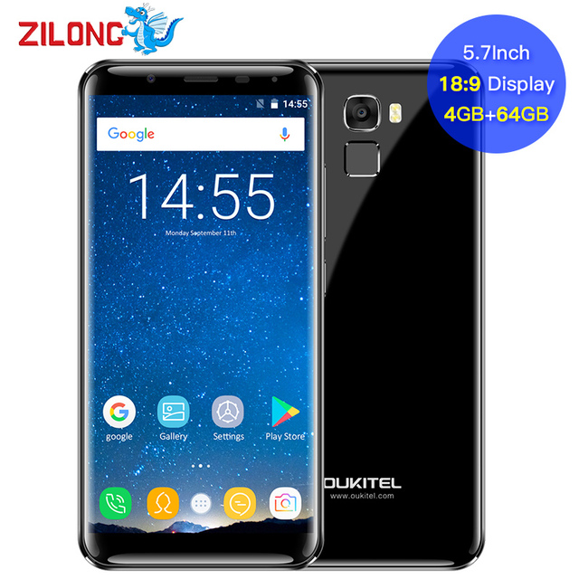 Oukitel 5.7 Inch 18:9 Infinity Display Smartphone Android 7.0 5000mAh 4GB RAM 64GB MT6750 Octa Core Fingerprint 16MP Cellphone
