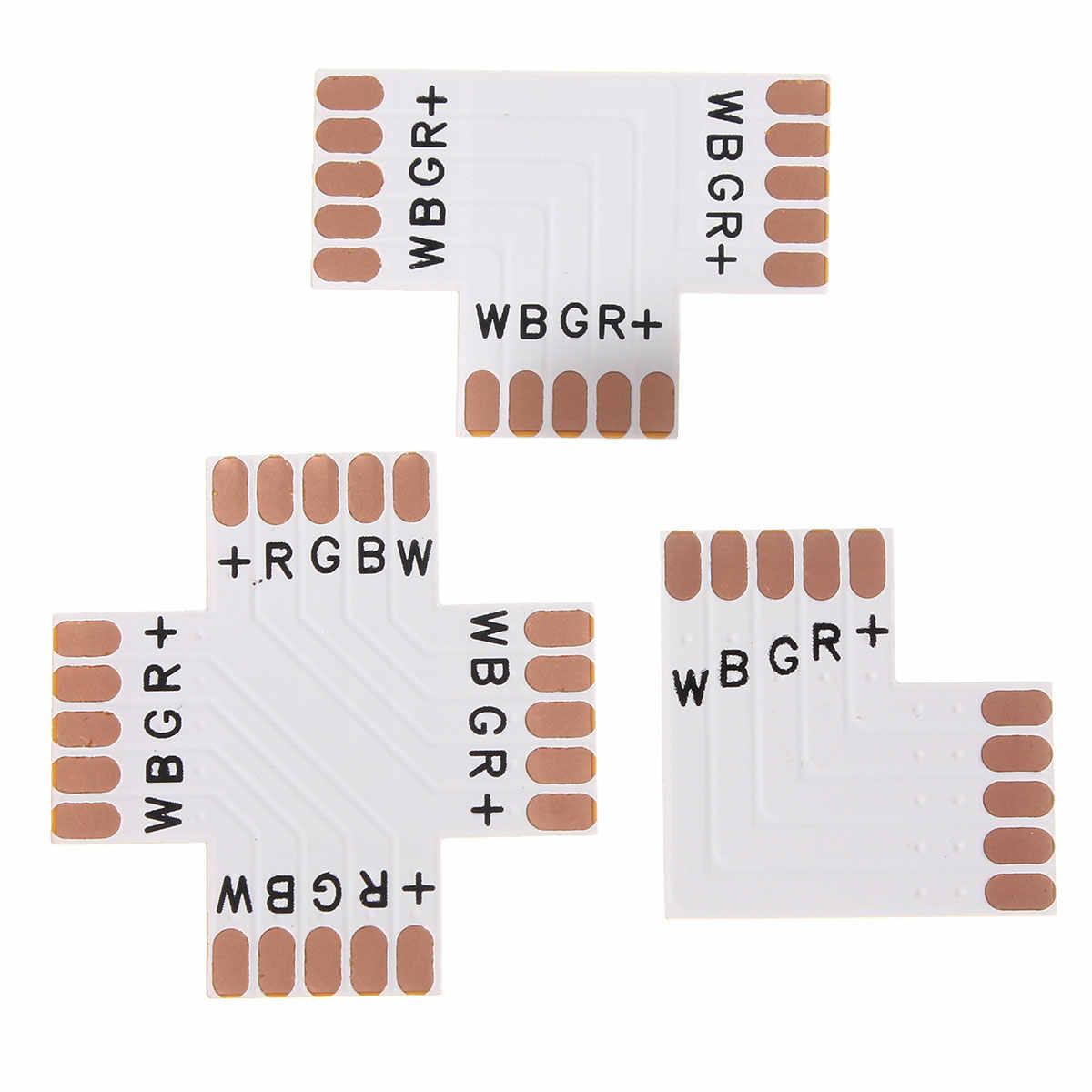 5Pin X L w kształcie litery T RGB RGBW kolor 5050 taśmy LED rogu, krzyż Adapter bez lutowania akcesoria oświetleniowe
