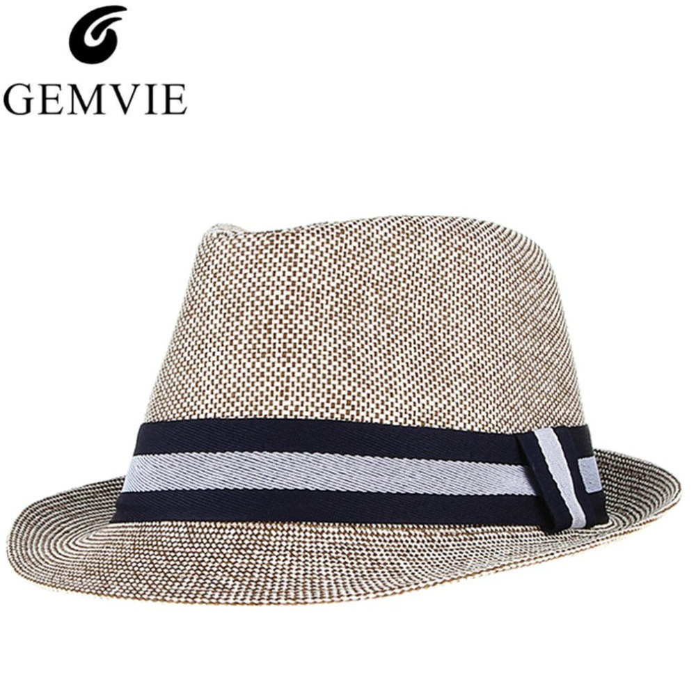 06ee595b5dc Detail Feedback Questions about Fashion Men Summer Hat New Beach Sun Hat  Caps Trilby Gentleman Jazz Hats Sunhat Straw Hats Panama Gangster Caps on  ...