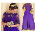 Simple Purple Appliques Lace Long Evening Dresses Elegant Half Sleeve Scoop Prom Party Gowns Cheap Stain Formal Evening Dress