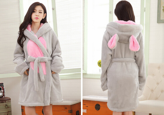 Women Cartoon Flannel Bathrobes Lady Warm Winter Robes Gray Rabbit Pajama  Coral Fleece Thick Shower Towels-in Robes from Underwear   Sleepwears on ... e99d734fb