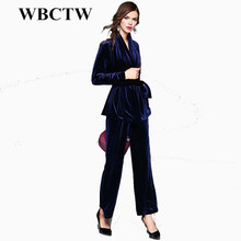 Velvet S 2017 Spring Women's Sexy V Neck Long Sleeves Velour Sash Bow Jackets with Long Pants Elegant Runway Twinsets