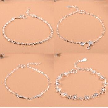Sterling Silver Flower Star Charm Bracelet For Women Girls Luxury Brand Heart Cute Anklet Jewelry Pulseras Mujer
