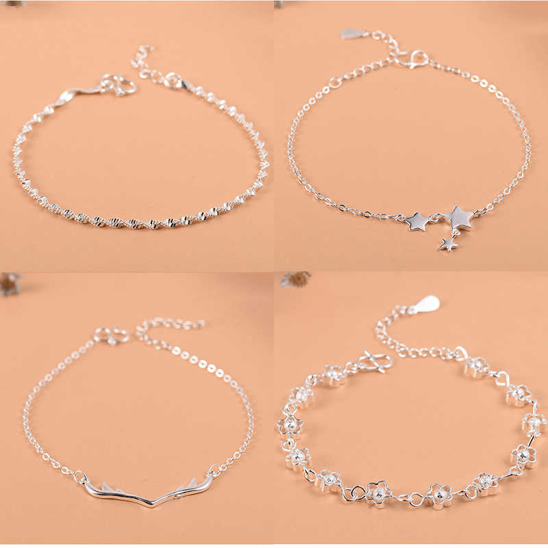 925 Sterling Silver Flower Star Charm Bracelet For Women Girls Luxury Brand Heart Cute Anklet Jewelry Pulseras Mujer