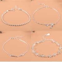 Pulsera amuleto de estrella con flor de Plata de Ley 925 para mujeres y niñas de marca de lujo corazón joyería tobillera Linda