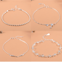 925 Sterling Silver Flower Star Charm Bracelet For Women Girls Luxury Brand Heart Cute Anklet Jewelry Pulseras Mujer zoziri 100% 925 sterling silver 3 clover leaf bracelet luxury brand imitation jewelry for women girls zircon flower bracelet