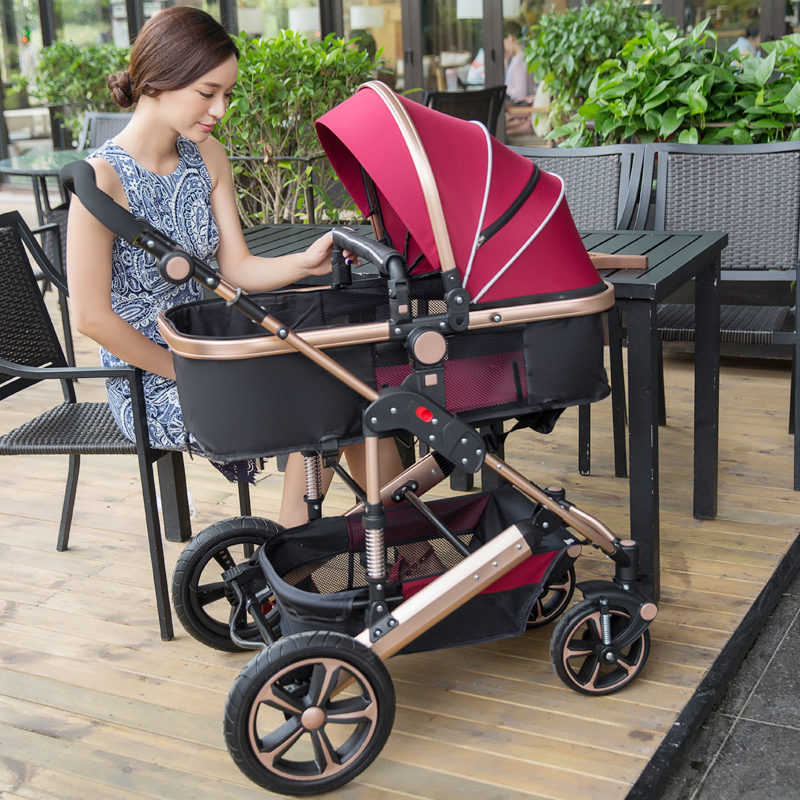 ФОТО brands deluxe baby stroller 3 in 1 stroller for children car poussette buggy umbrella stroller high landscape