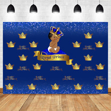 Baby Shower Backdrop Little Prince Blue Crown Backdrops Newborn Party Decoration Shooting Banner Background