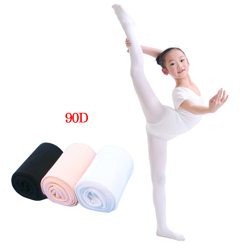 Flexible Nylon Girls Ballet Dance Tights White/ Nude Girl Kids Soft Pantyhose 90D Without Hole Ballet Dance Tights 2 Colors