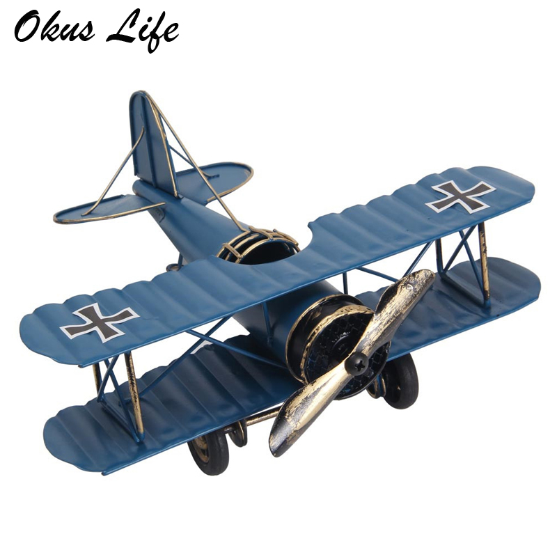 Creative Home Decor Handicrafts Ornaments Miniature Models Retro Biplane Metal Aircraft Models Airplane Model Toys For Children image