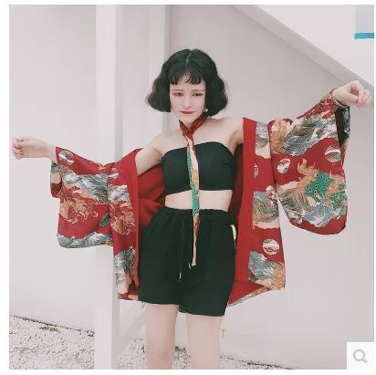 2017 sommar japansk stil tjej solskyddsmedel Chiffon Toppar Kimono - Nationella kläder - Foto 3