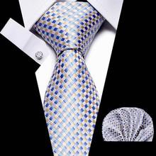 Mens Plaid Tie Set 7.5cm Necktie Handkerchief Red Blue Classic Novelty Geometric Pattern Neck Ties For Men Wedding