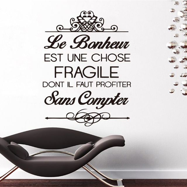 Stickers French Citation Bonheur Mural Vinyl Wall Sticker Decals