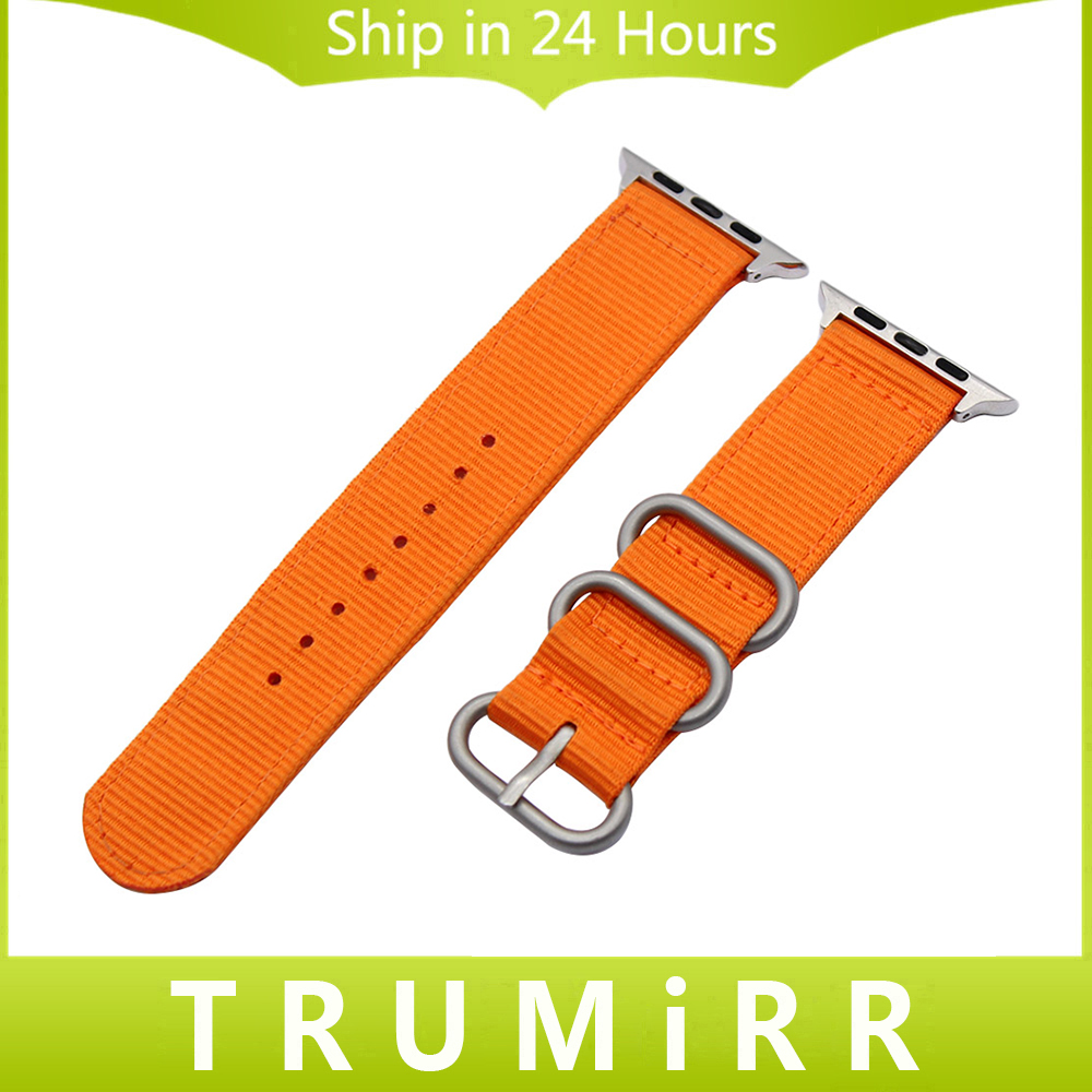Nylon Watchband Zulu Strap for 38mm 42mm iWatch Apple Watch Strap Men Women Fabric Belt Bracelet with Adapters Orange Black Grey 22mm grey black orange striped nato g10 nylon strap for men wristwatch watchband