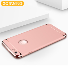 Luxury Fashion Mobile phone plating case For iphone 6 6s plus 360 Degree protection hard case combined Back Cover Case 3 parts