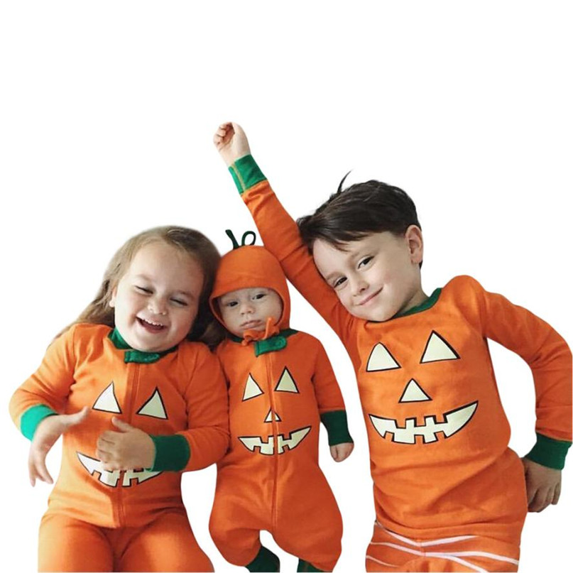 Orange Color New Cute Toddler Baby Boys Girls Pumpkin Devil T shirt Tops+Pants Halloween Outfits Set Hot 2017 drop shipped ST26