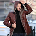 Customise Tailor Made Men's Geguine Sheepskin Leather Coat Jackets Shearling Cashmere Wool Lined Hood Brown Black 4XL 5XL XXXXXL