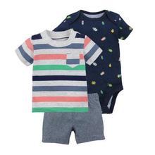 2017 new Summer baby boy clothing set Baby Rompers t shirt short pants 3pcs set Baby