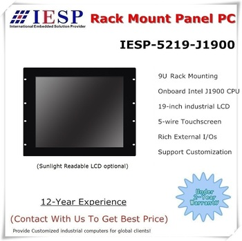 Rack mount Panel PC, 19 inch LCD, J1900 CPU, 4GB RAM, 500GB HDD, 4*RS232, 4*USB, Touch panel pc, fanless industrial computer