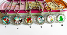 (12pcs/lot Mixed model )Christmas, Christmas tree, snowman, bow tie, bell, candy Bracelet Glass Cartoon Movie Sweater chain