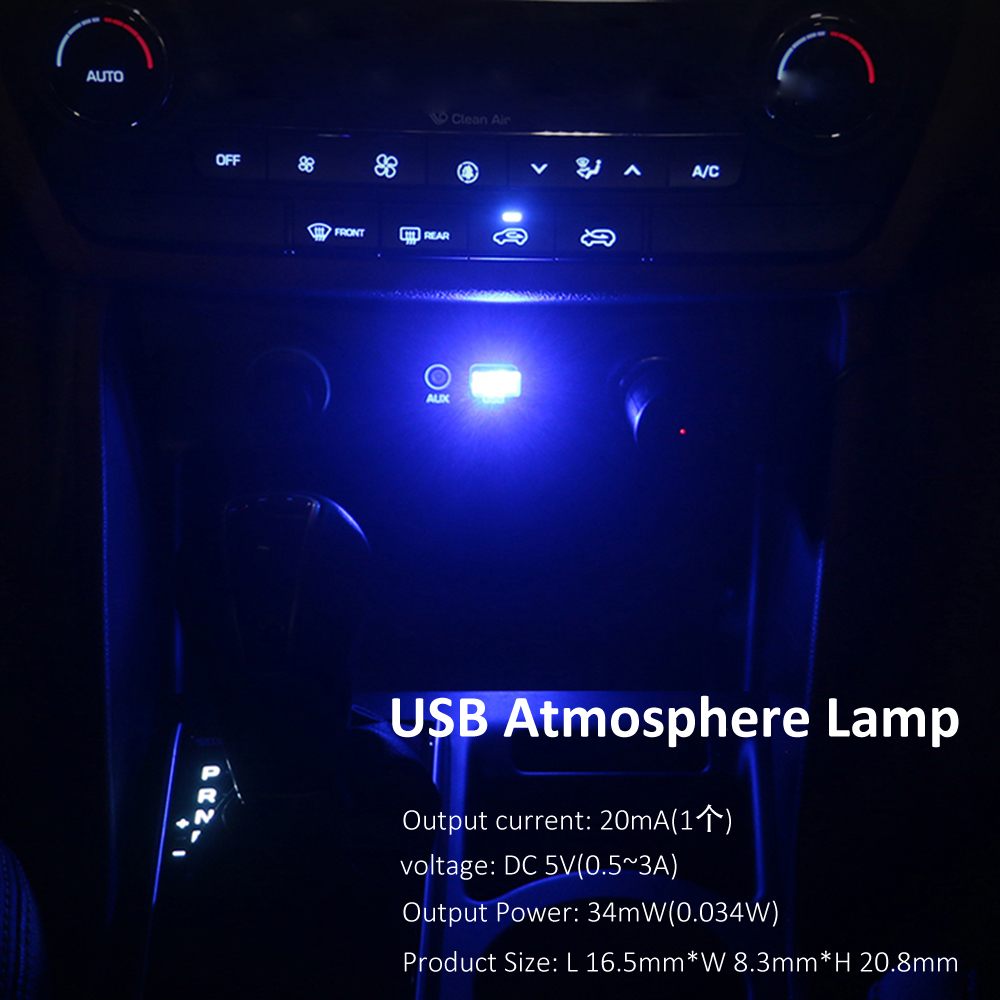 2pcs Atmosphere Lights Car USB LED Decorative Lamp Emergency Lighting Universal Portable Plug and Play Red Blue White Pink DC 5V