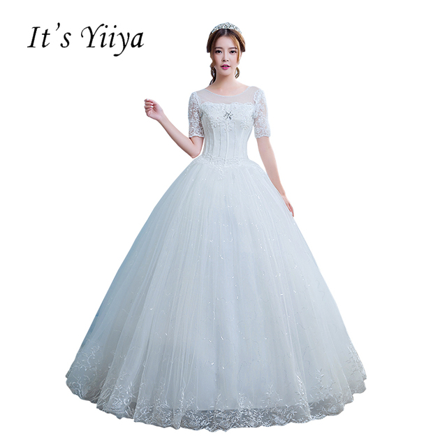 Free Shipping New White Wedding Ball Gowns O Neck Short Sleeves Cheap Princess Vestidos De