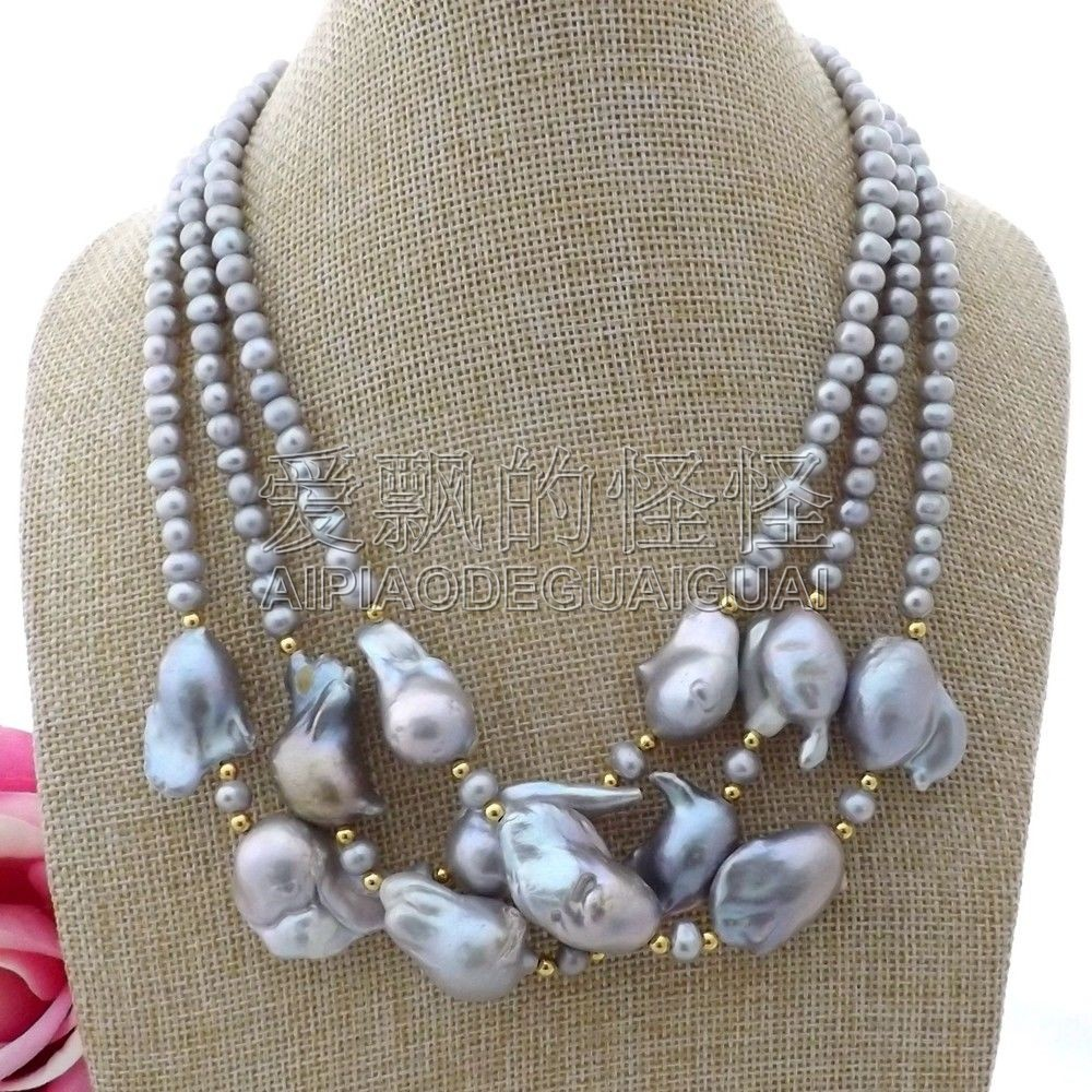 N112107 19 3Strands Grey Keshi Pearl NecklaceN112107 19 3Strands Grey Keshi Pearl Necklace