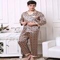 A35 maduro 'homens s Primavera e No outono de seda gelo pijama dos homens long-sleeved das calças terno roupas em casa para aumentar o código pijama