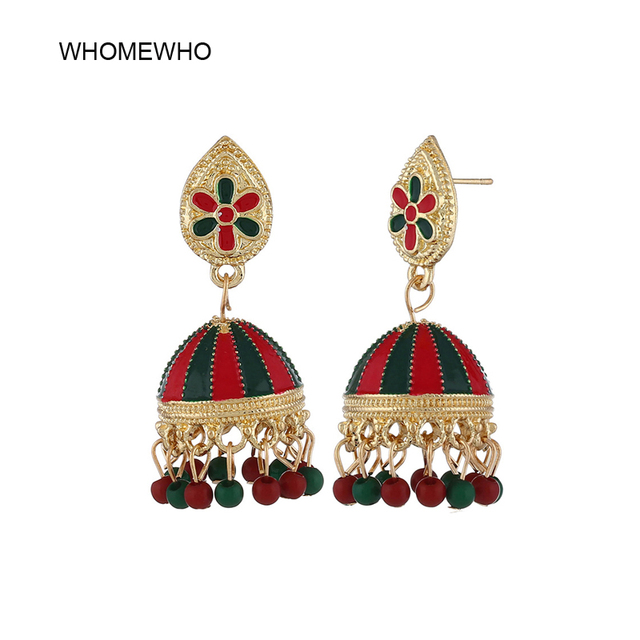 5072c17b037a7b Summer Fashion Indian Imitation Gold Jhumka Jhumki Drop Earrings Women  Handmade Wood Beads Bridal Party Jewelry Christmas Gifts