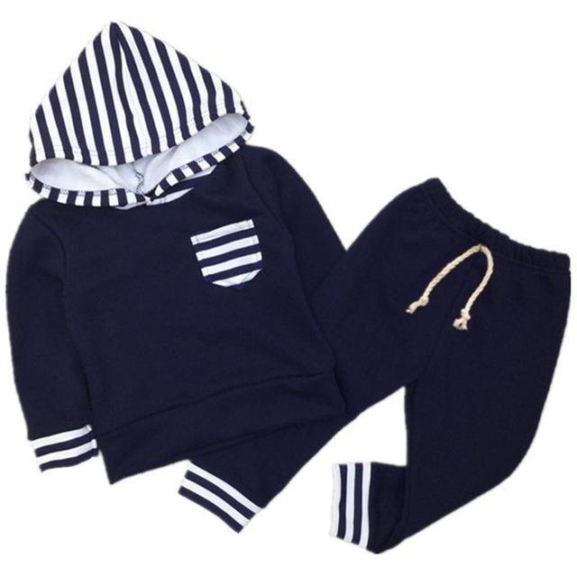 2017 Novos Meninos Do Bebê Meninas Hoodies Ternos 2 Pcs Hoodies + Calças Criança Da Menina do Menino Primavera Outono Inverno Moletom Crianças Conjunto de roupas F17