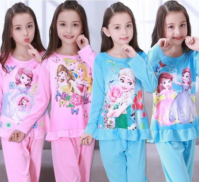 2018 Herbst & Frühling Baby Sleep Anzüge Schöne Gilr Jungen Pyjama Kind-schlafanzüge Mädchen Cartoon Pijamas Kinder Kleidung Set Erty2