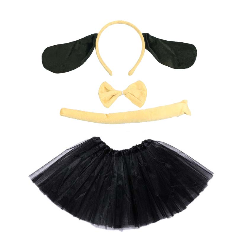 Animal Costume Dog Cosplay Head Wear Headband With Tutu Skirt  Kids Children Party Props Halloween Carnival Birthday Gift