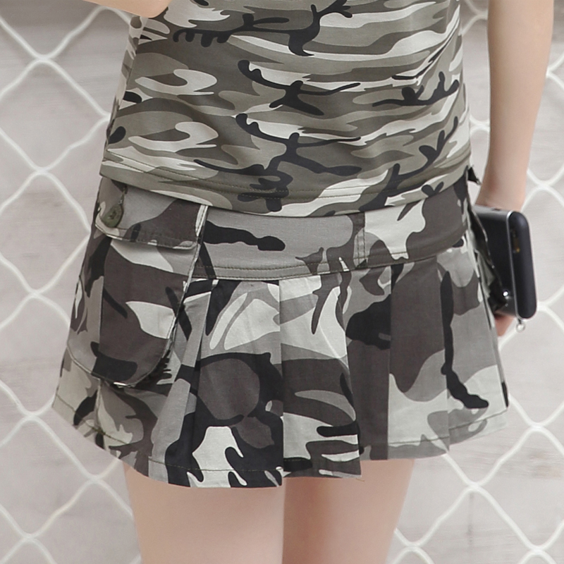 Realpopu zipper high waist mini skirt women camouflage sexy short hara jyards