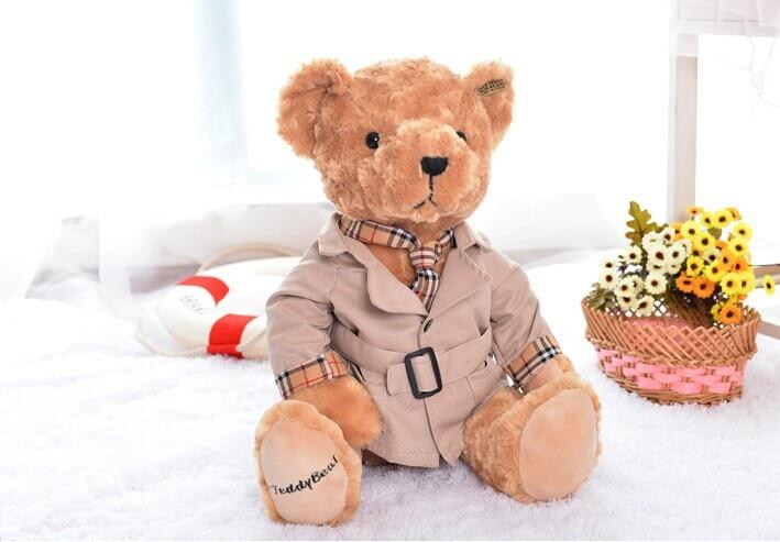 big cute Teddy bear toy plush khaki Dust coat bear toy doll birthday gift about 40cm new creative cute plush bear toy big head teddy bear doll gift about 35cm