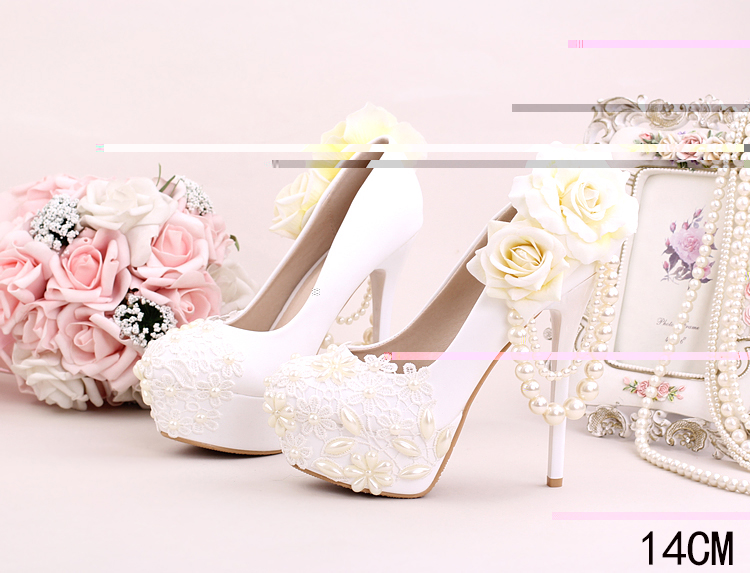 1_Women Dress Shoes For Wedding White Pearl Lace Flowers Bridal High Heel Platform Pumps 10cm 12cm 14cm Stilettos Footwear Online