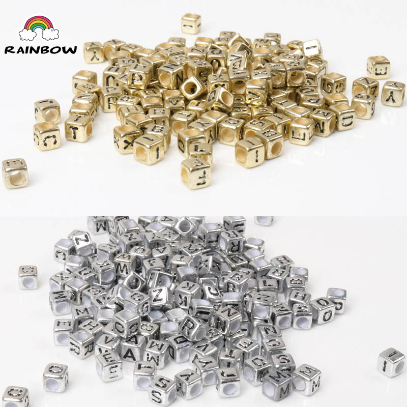 Beads Beads & Jewelry Making Hearty Mixed Gold And Sivler Square Shape Acrylic Russian Alphabet Letter Flat Cube Beads For Jewelry Making 6x6mm 200pcs Ykl0513x-rh Be Shrewd In Money Matters