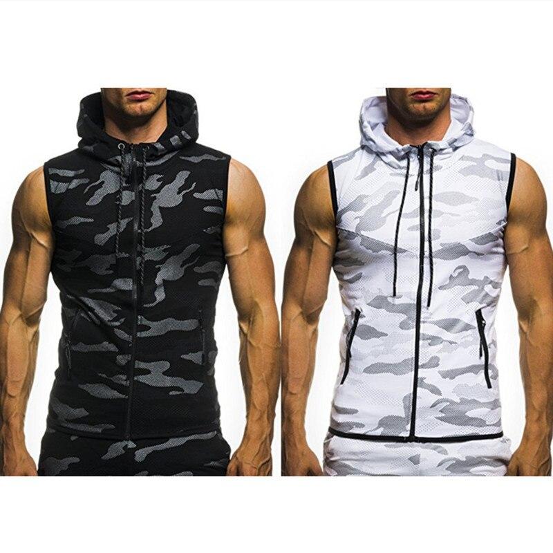 NEW Camouflage   Tank     Top   Men Hooded Hoody Sleeveless Man Zipper Vest Jackets Boys   Tanks   Hood Vests Workout Clothing Tanktop