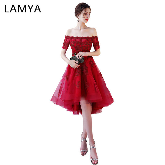 1cddbfffc1 LAMYA Princess Short Front Long Back Prom Dresses Sexy High Low Party Dress  Elegant Lace Plus Size Formal Gown vestido de festa