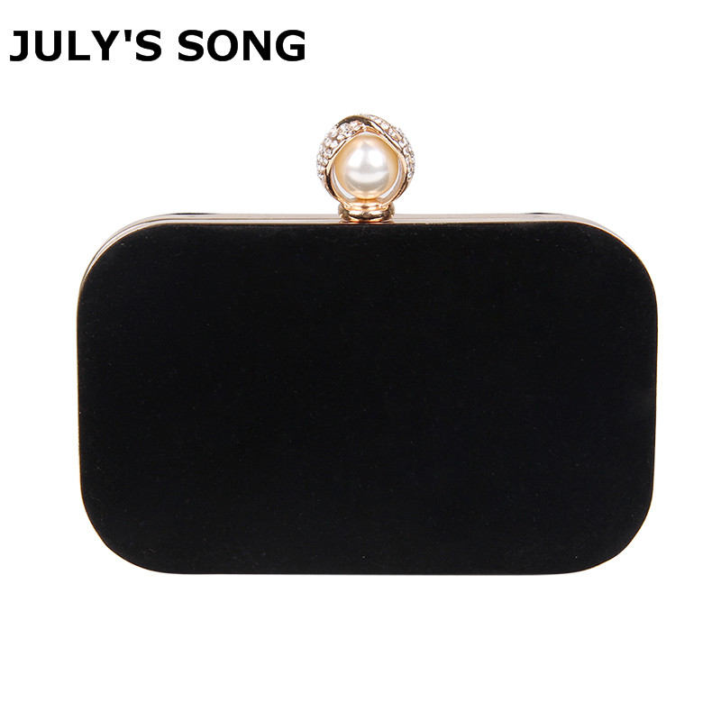 Ladies Velvet Clutch Pearl Crystal Evening Bags Women Velour Party Wedding Hand Bag Bridal Luxury Mini Simple Purse Bolsos