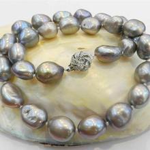 Большой 11-13 мм серебристо-серый Настоящее барокко культивированный жемчуг Ожерелье Кристалл AA