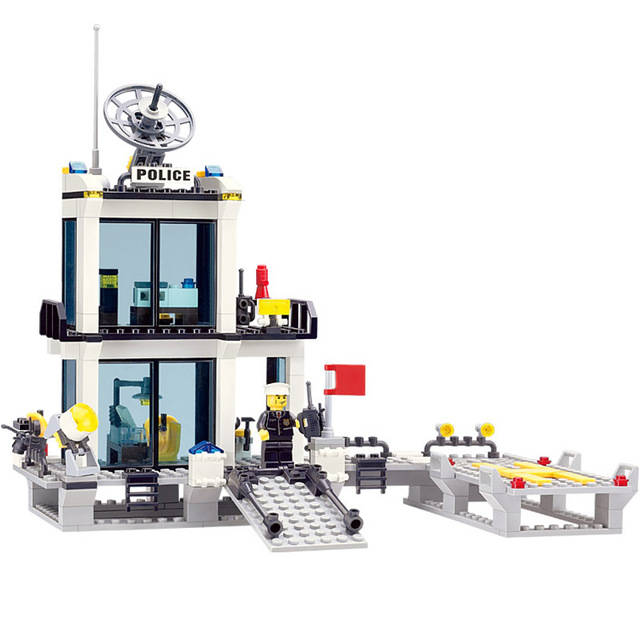 Children's Building Blocks Toys Of Enlightenment KAZI City Police Station Assembled Model Compatible With Famous Brand Bricks