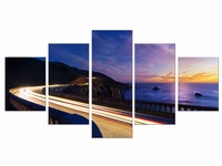 5 Pieces Free Shipping Highway Sea HD Wall Art Print On Canvas For Home Decoration Wall