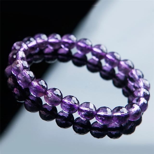 8mm Atacado Genuine Natural Roxo Ametista Cristal de Quartzo Pulseiras Para Mulheres Redonda Enfrentou Beads Estiramento Charm Bracelet Femme