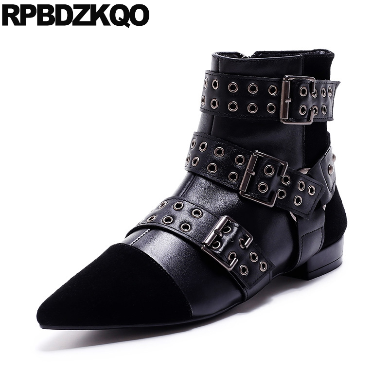 Stud Biker Flat Sheepskin British Booties Shoes Short Brand Ankle Motorcycle Women Metal Pointed Toe Punk Rock Boots Belts Black