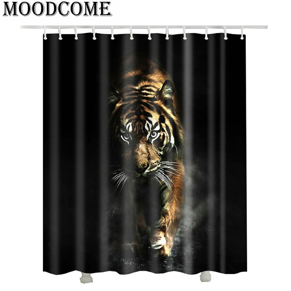 3d tiger shower curtain rideau de douche 3d cortina en. Black Bedroom Furniture Sets. Home Design Ideas
