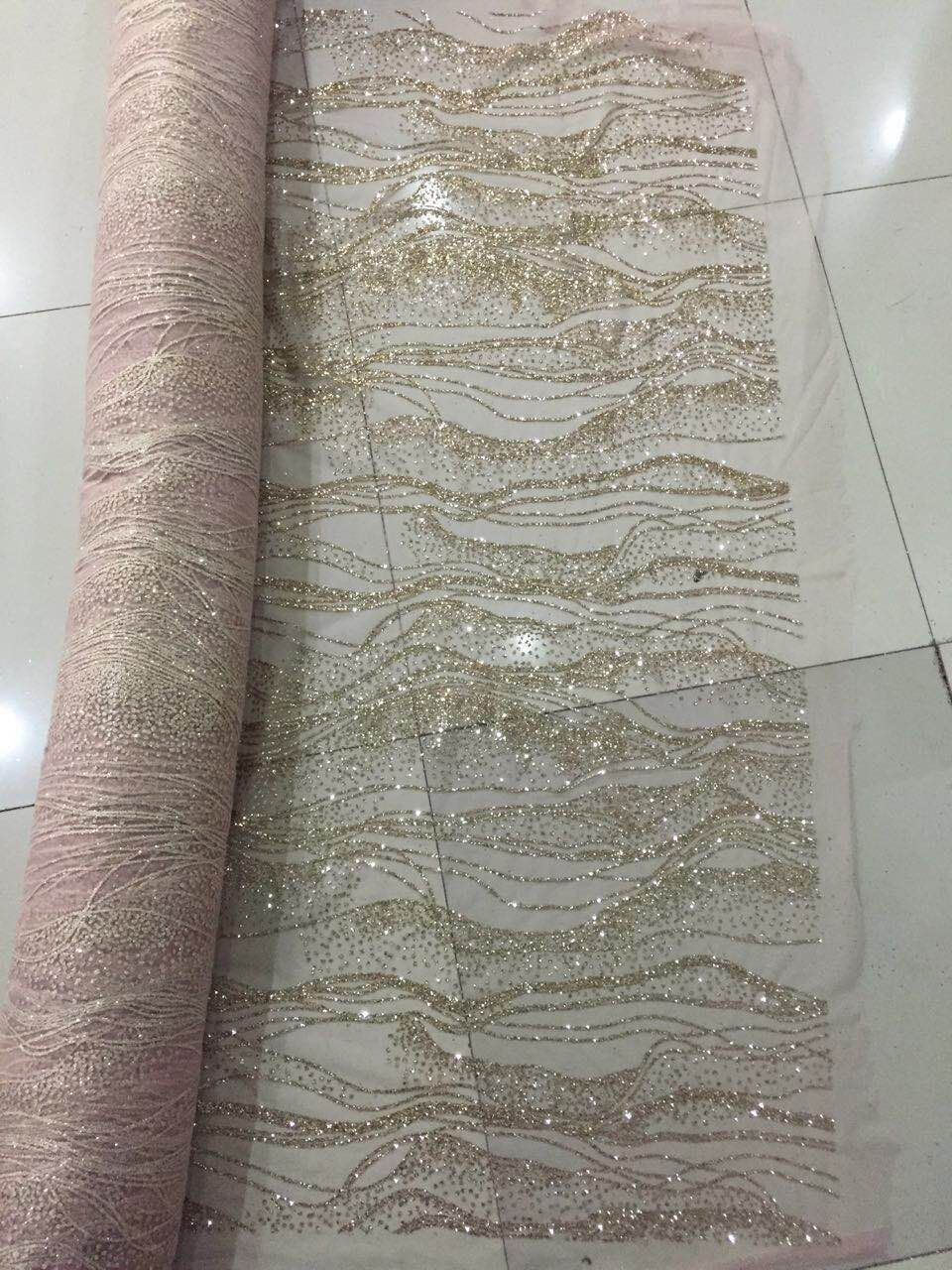 New design jianxi 31407 african glued glitter lace fabric french tulle lace fabric For party dress