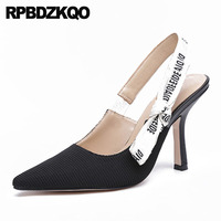 slingback thin customized black ladies super extreme luxury shoes ultra pointed toe strap women pumps high heels patent leather