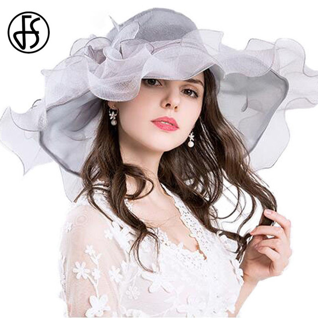 047c2eee75706 FS Vintage Kentucky Derby Hats For Women Summer Fashion Big Flower Organza  Sun Hat Wide Brim Beach Casual Beach Chapeu Feminino
