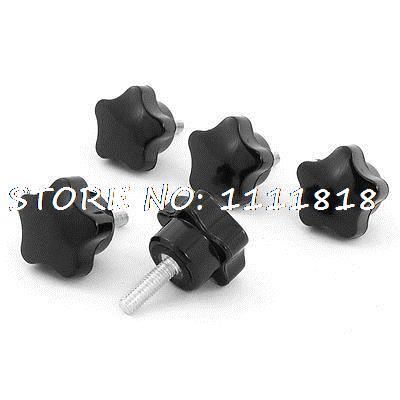 5 x Black M6 x 20 Thread 32mm Dia Bakelite Star Knob Handle for Machine Tool 8mm x 20mm thread screw on type clamping t shape handle knob