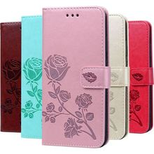 Luxury Rose Flower Case For Apple iPhone X Xs Max Xr 7 8 6 6s Plus 5 5s SE Single Color PU Leather Wallet Card Slot Cover DP17E